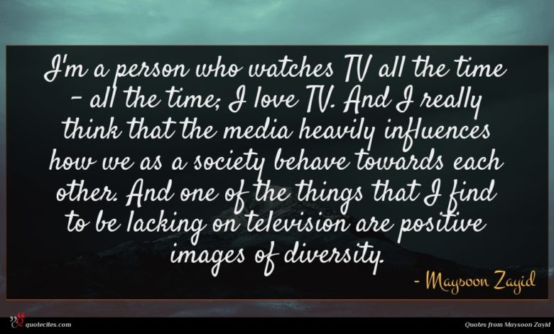 I'm a person who watches TV all the time - all the time; I love TV. And I really think that the media heavily influences how we as a society behave towards each other. And one of the things that I find to be lacking on television are positive images of diversity.