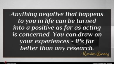 Photo of Kierston Wareing quote : Anything negative that happens …