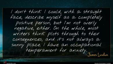Photo of James Lasdun quote : I don't think I …