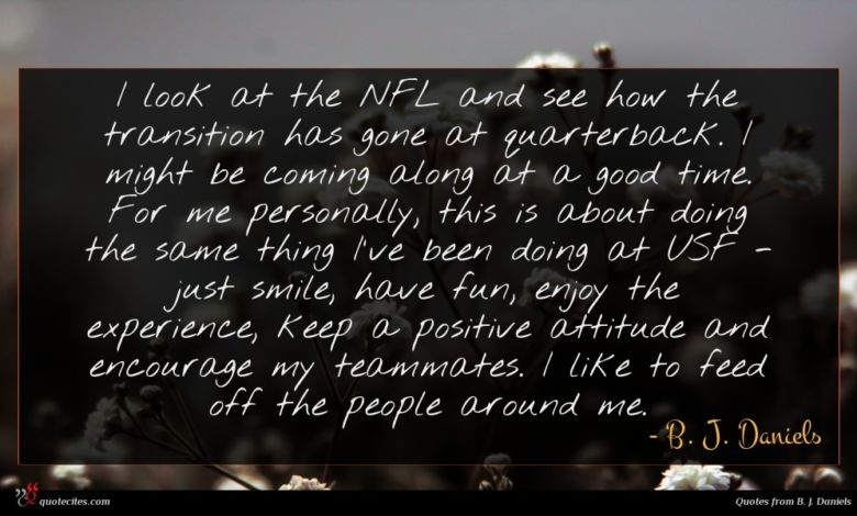 Photo of B. J. Daniels quote : I look at the …