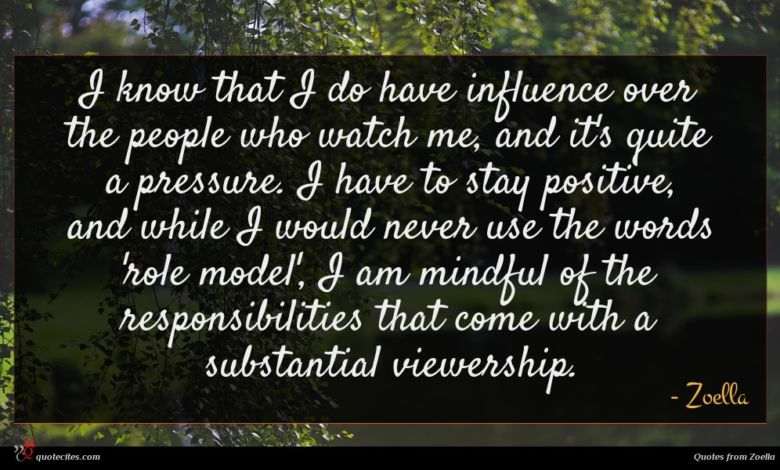 I know that I do have influence over the people who watch me, and it's quite a pressure. I have to stay positive, and while I would never use the words 'role model', I am mindful of the responsibilities that come with a substantial viewership.