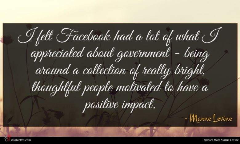 I felt Facebook had a lot of what I appreciated about government - being around a collection of really bright, thoughtful people motivated to have a positive impact.