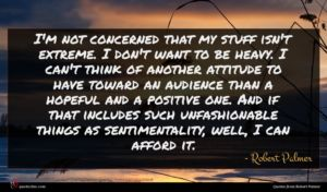 Robert Palmer quote : I'm not concerned that ...