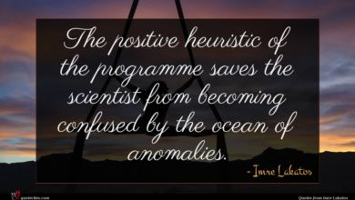 Photo of Imre Lakatos quote : The positive heuristic of …