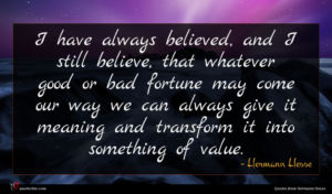 Hermann Hesse quote : I have always believed ...