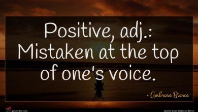 Photo of Ambrose Bierce quote : Positive adj Mistaken at …
