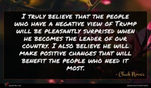 Chuck Norris quote : I truly believe that ...