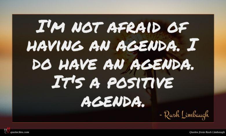 I'm not afraid of having an agenda. I do have an agenda. It's a positive agenda.