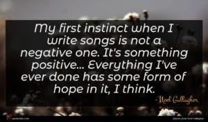 Noel Gallagher quote : My first instinct when ...