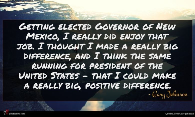 Getting elected Governor of New Mexico, I really did enjoy that job. I thought I made a really big difference, and I think the same running for president of the United States - that I could make a really big, positive difference.