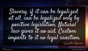 Lysander Spooner quote : Slavery if it can ...
