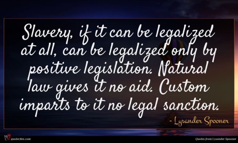 Slavery, if it can be legalized at all, can be legalized only by positive legislation. Natural law gives it no aid. Custom imparts to it no legal sanction.