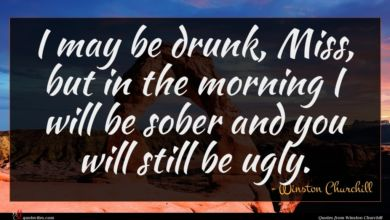 Photo of Winston Churchill quote : I may be drunk …