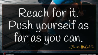 Photo of Christa McAuliffe quote : Reach for it Push …