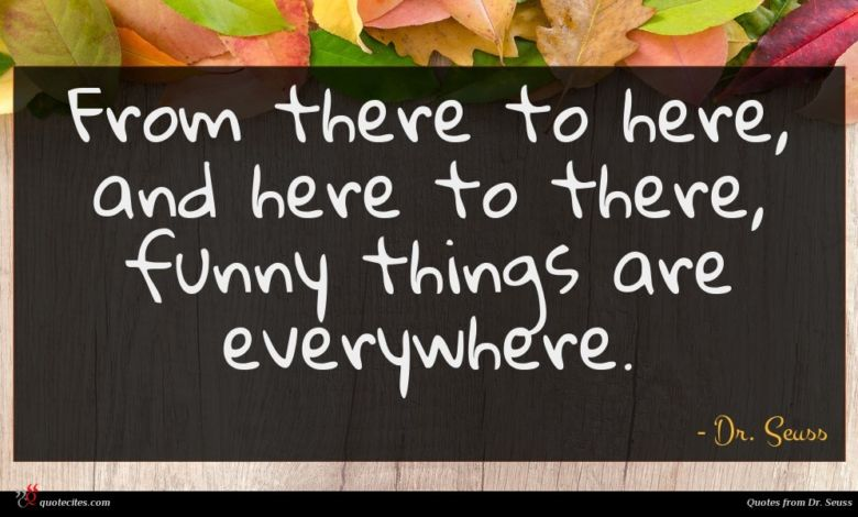 From there to here, and here to there, funny things are everywhere.