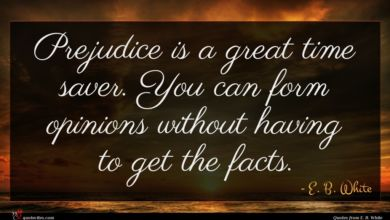 Photo of E. B. White quote : Prejudice is a great …