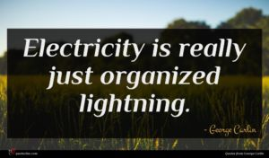 George Carlin quote : Electricity is really just ...