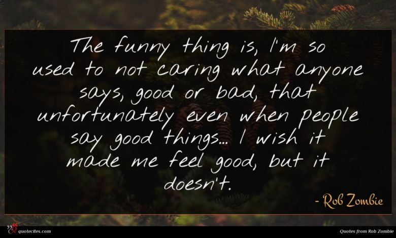 The funny thing is, I'm so used to not caring what anyone says, good or bad, that unfortunately even when people say good things... I wish it made me feel good, but it doesn't.