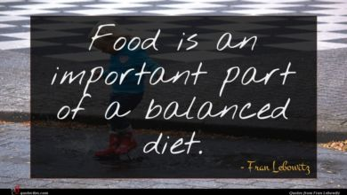 Photo of Fran Lebowitz quote : Food is an important …