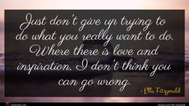 Photo of Ella Fitzgerald quote : Just don't give up …