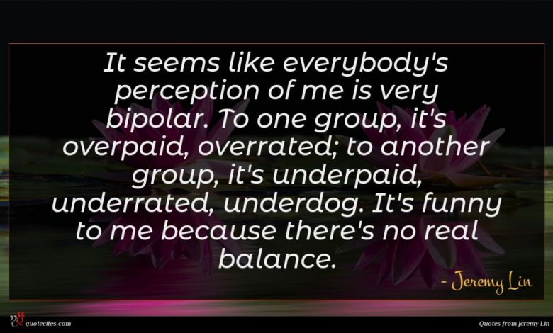 It seems like everybody's perception of me is very bipolar. To one group, it's overpaid, overrated; to another group, it's underpaid, underrated, underdog. It's funny to me because there's no real balance.