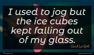 David Lee Roth quote : I used to jog ...