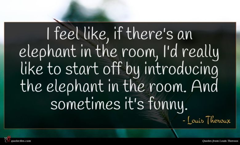I feel like, if there's an elephant in the room, I'd really like to start off by introducing the elephant in the room. And sometimes it's funny.