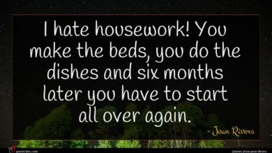 Photo of Joan Rivers quote : I hate housework You …