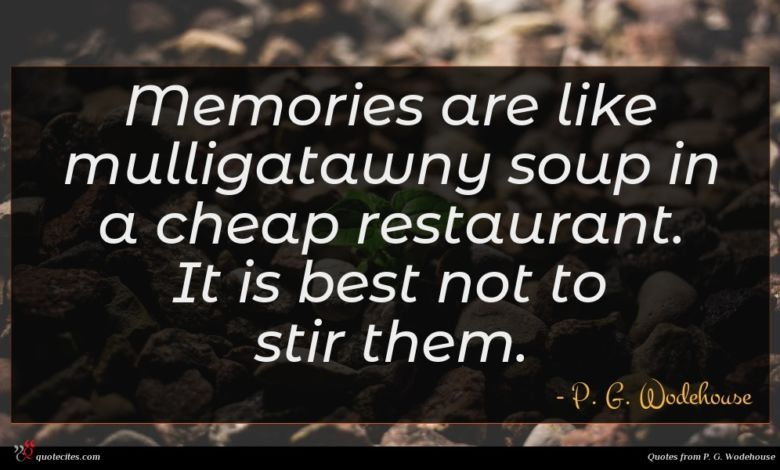 Memories are like mulligatawny soup in a cheap restaurant. It is best not to stir them.