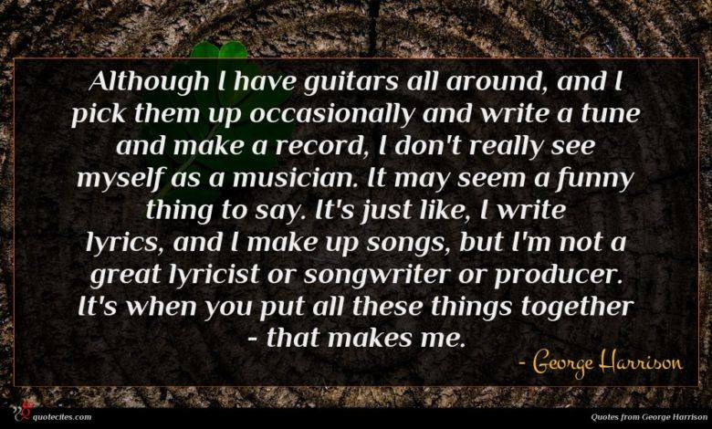 Although I have guitars all around, and I pick them up occasionally and write a tune and make a record, I don't really see myself as a musician. It may seem a funny thing to say. It's just like, I write lyrics, and I make up songs, but I'm not a great lyricist or songwriter or producer. It's when you put all these things together - that makes me.