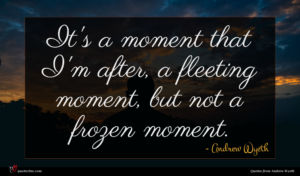 Andrew Wyeth quote : It's a moment that ...