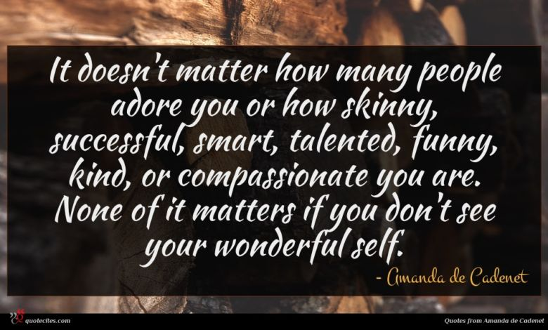 It doesn't matter how many people adore you or how skinny, successful, smart, talented, funny, kind, or compassionate you are. None of it matters if you don't see your wonderful self.