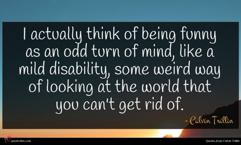 I actually think of being funny as an odd turn of mind, like a mild disability, some weird way of looking at the world that you can't get rid of.