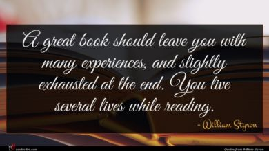 Photo of William Styron quote : A great book should …