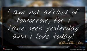 William Allen White quote : I am not afraid ...