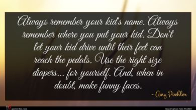 Photo of Amy Poehler quote : Always remember your kid's …