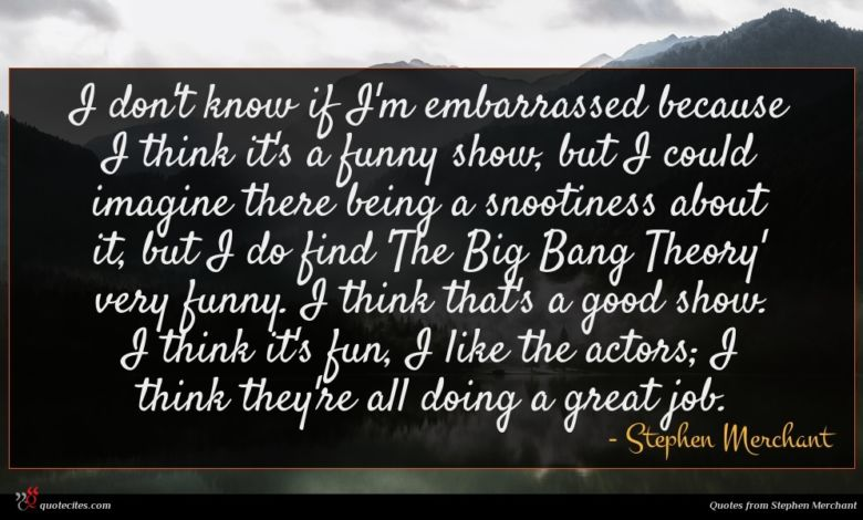 I don't know if I'm embarrassed because I think it's a funny show, but I could imagine there being a snootiness about it, but I do find 'The Big Bang Theory' very funny. I think that's a good show. I think it's fun, I like the actors; I think they're all doing a great job.