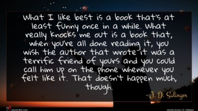 Photo of J. D. Salinger quote : What I like best …