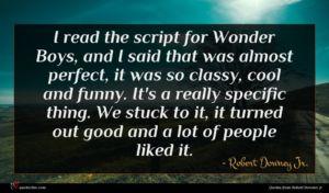Robert Downey Jr. quote : I read the script ...