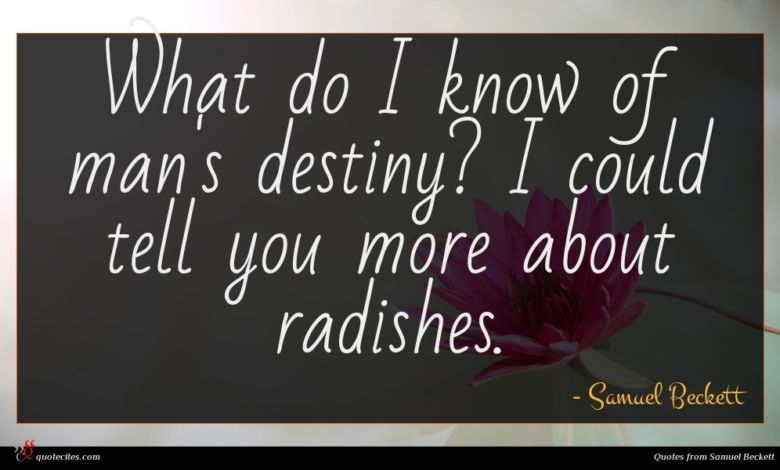 What do I know of man's destiny? I could tell you more about radishes.
