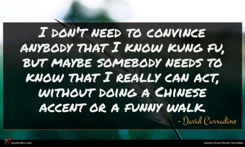 I don't need to convince anybody that I know kung fu, but maybe somebody needs to know that I really can act, without doing a Chinese accent or a funny walk.
