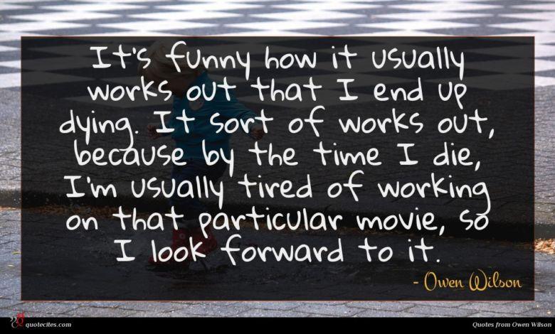 Photo of Owen Wilson quote : It's funny how it …