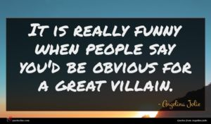 Angelina Jolie quote : It is really funny ...