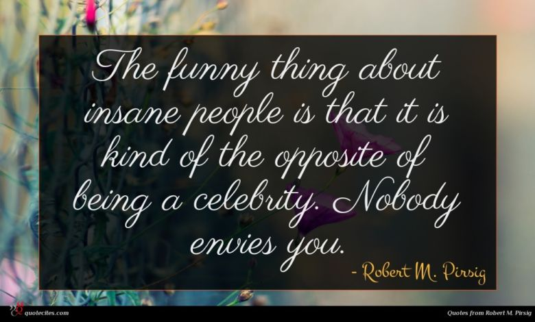 The funny thing about insane people is that it is kind of the opposite of being a celebrity. Nobody envies you.