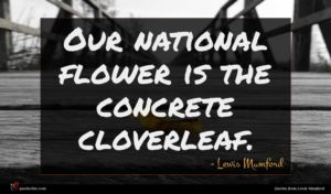 Lewis Mumford quote : Our national flower is ...
