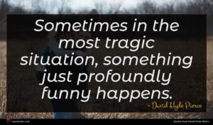 David Hyde Pierce quote : Sometimes in the most ...
