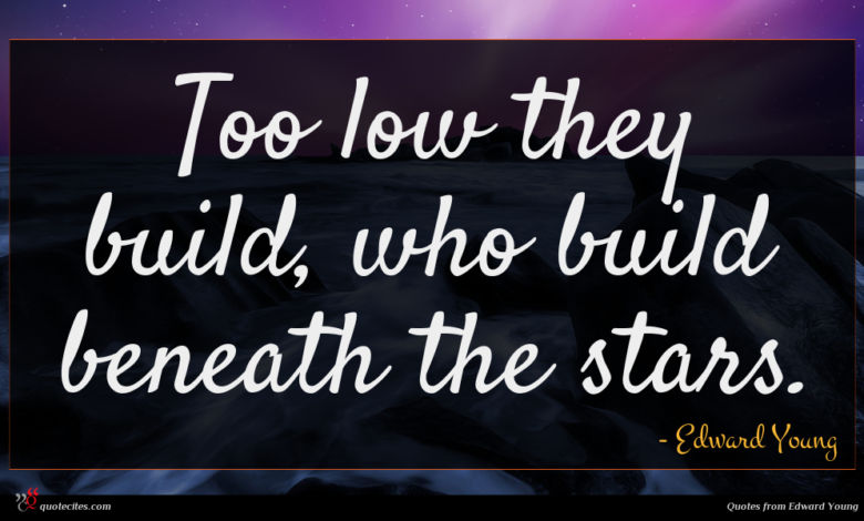 Too low they build, who build beneath the stars.