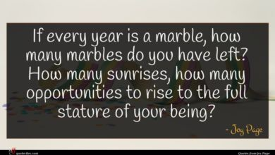 Photo of Joy Page quote : If every year is …