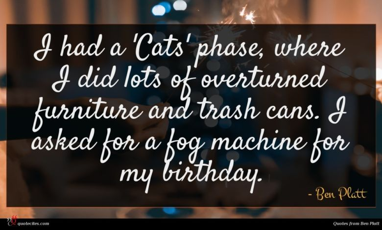 I had a 'Cats' phase, where I did lots of overturned furniture and trash cans. I asked for a fog machine for my birthday.