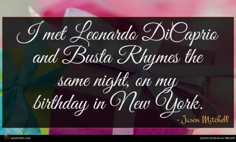 I met Leonardo DiCaprio and Busta Rhymes the same night, on my birthday in New York.